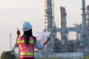 Female engineer overseeing project