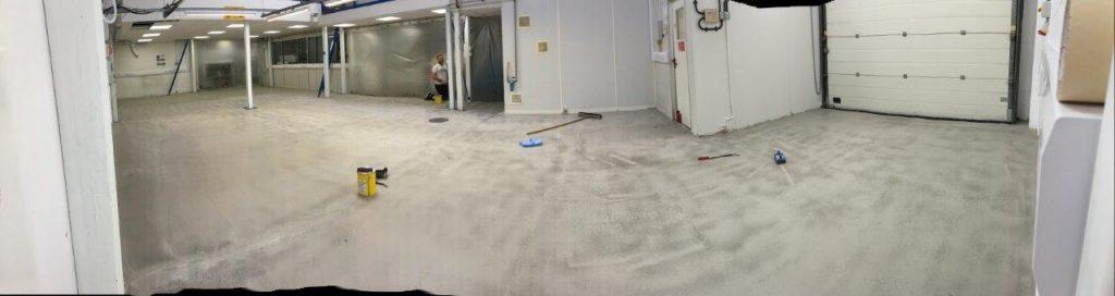 Floor on Saturday before new anti-static vinyl laid